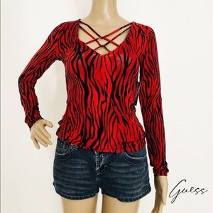 New! GUESS Red Stripe Sexy Top